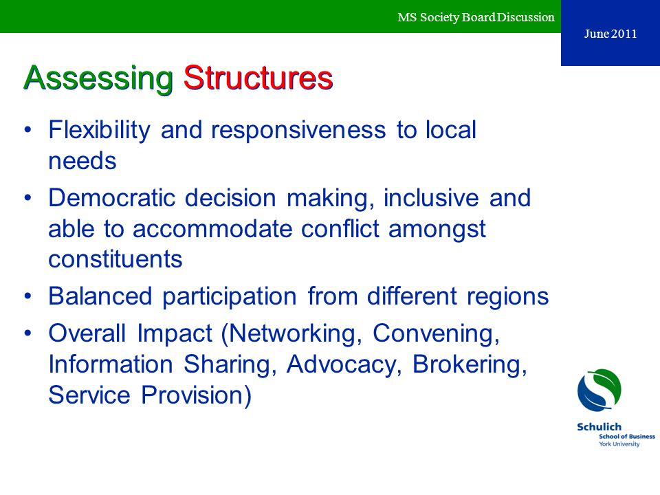 Assessing Structures Flexibility and responsiveness to local needs
