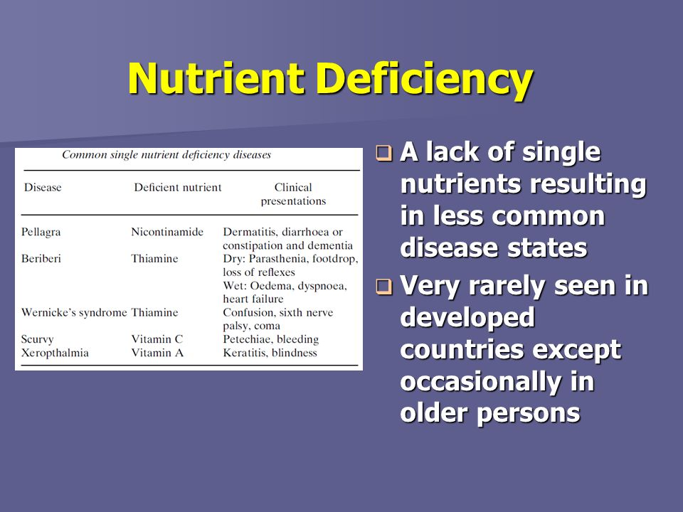 Nutrient Deficiency A lack of single nutrients resulting in less common disease states.
