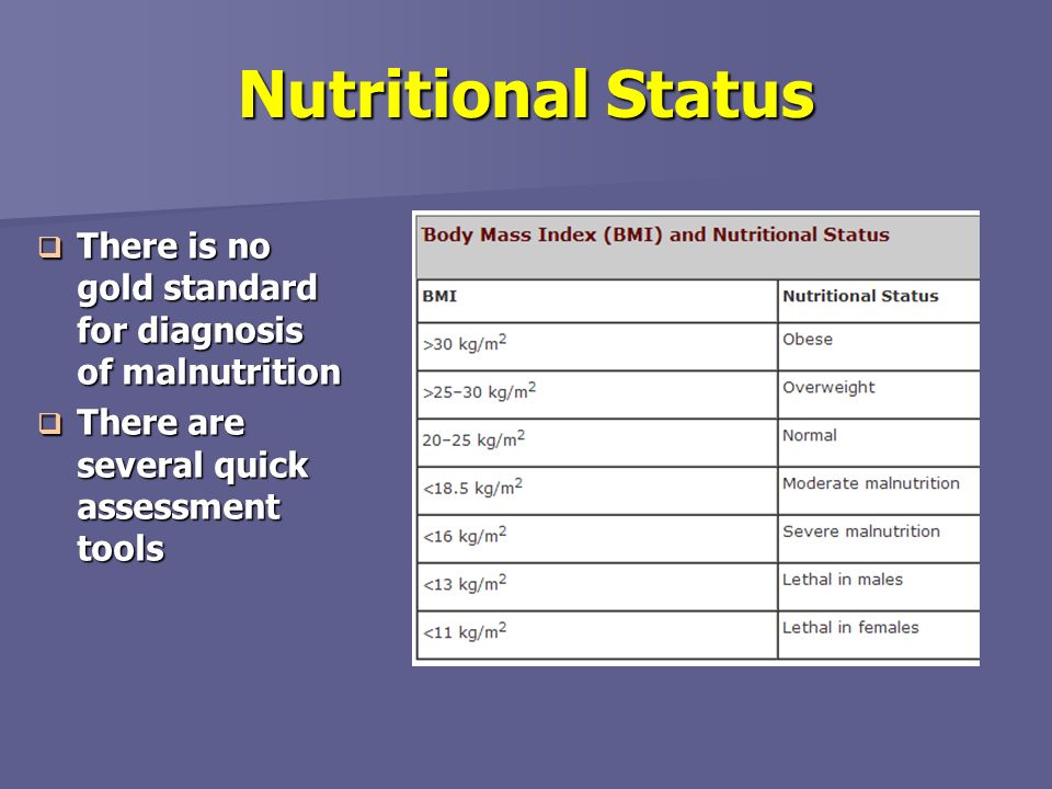 Nutritional Status There is no gold standard for diagnosis of malnutrition. There are several quick assessment tools.