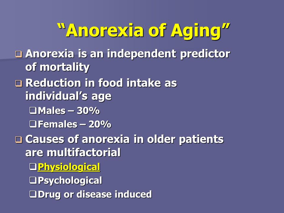 Anorexia of Aging Anorexia is an independent predictor of mortality
