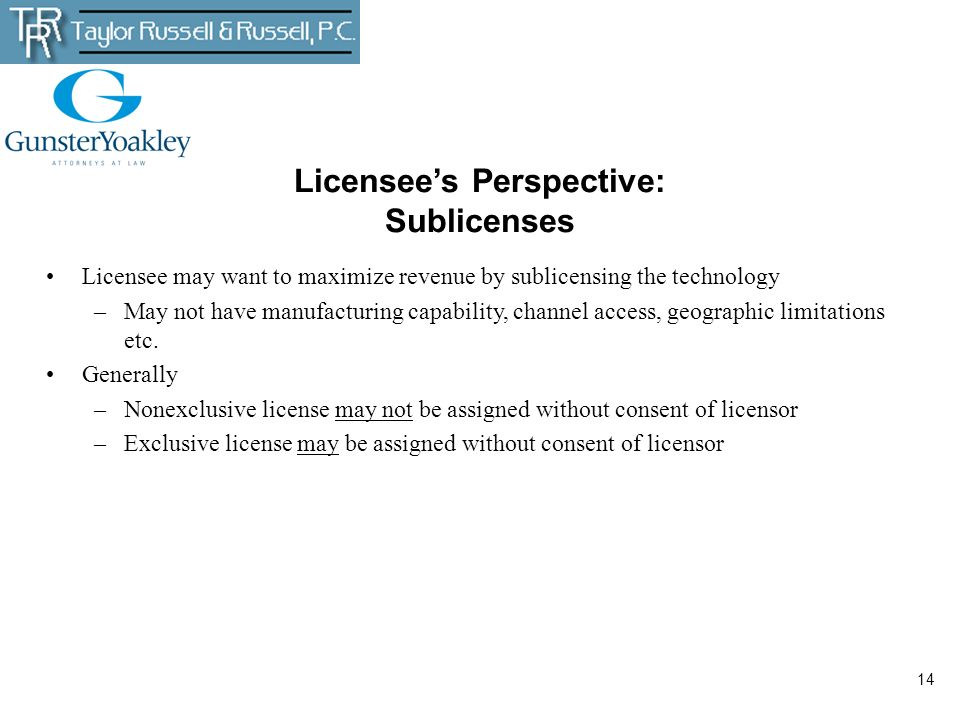 Licensee's Perspective: Sublicenses
