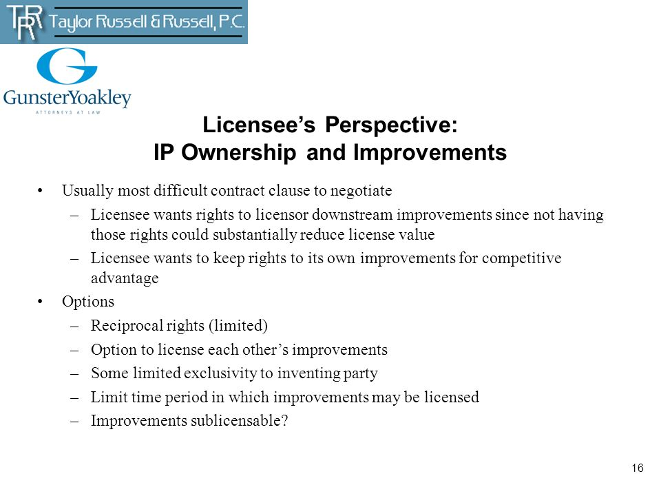 Licensee's Perspective: IP Ownership and Improvements