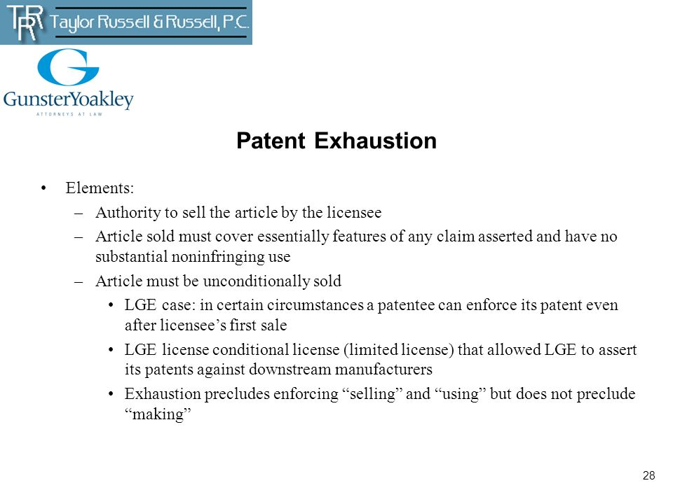 Patent Exhaustion Elements: