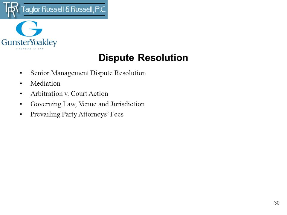Dispute Resolution Senior Management Dispute Resolution Mediation