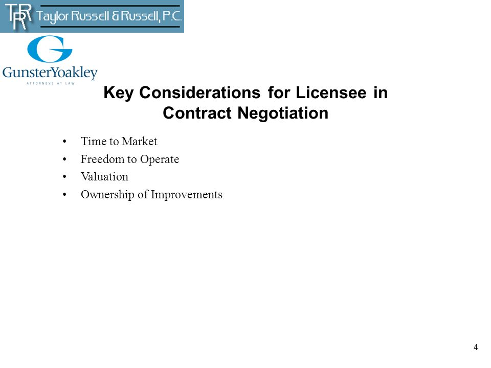 Key Considerations for Licensee in Contract Negotiation