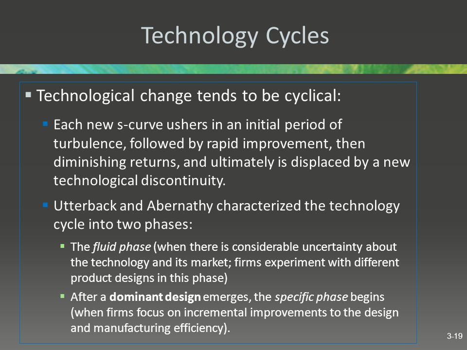 Technology Cycles Technological change tends to be cyclical: