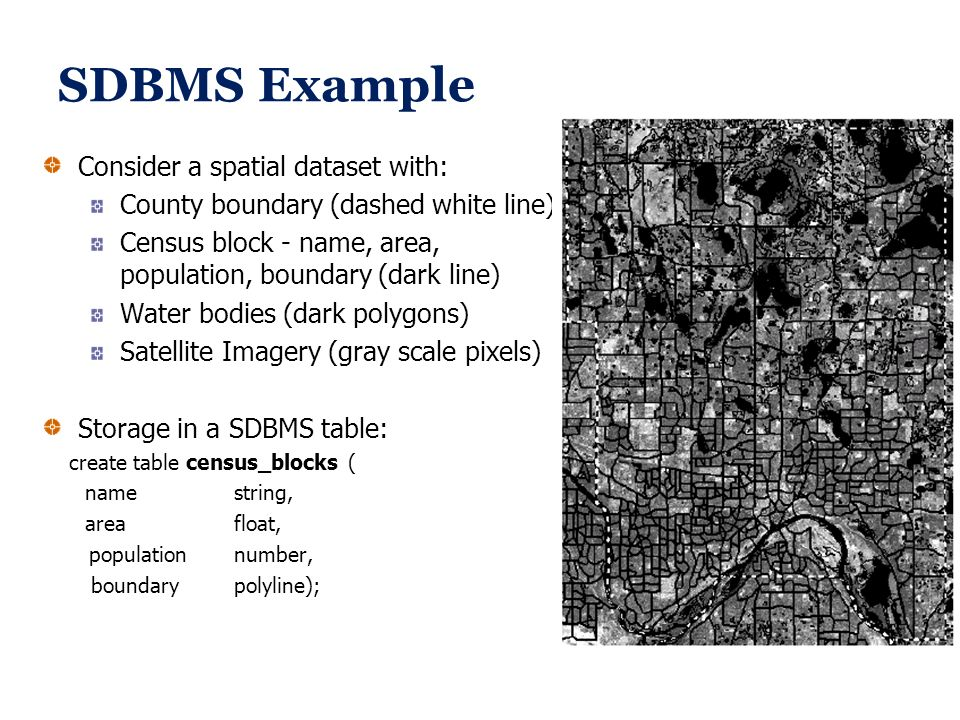 SDBMS Example Consider a spatial dataset with: