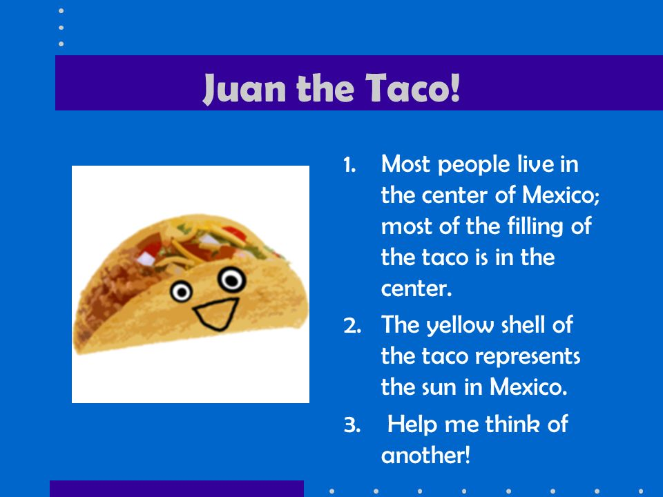 Juan the Taco! Most people live in the center of Mexico; most of the filling of the taco is in the center.