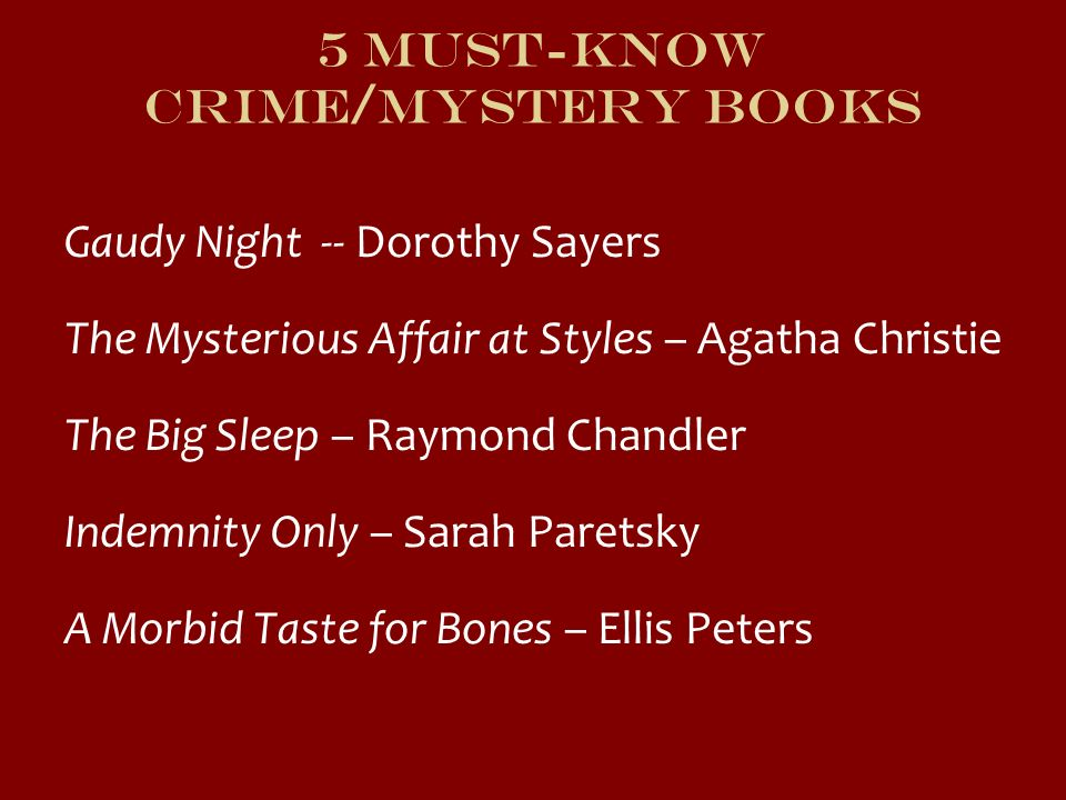 5 Must-Know Crime/Mystery Books