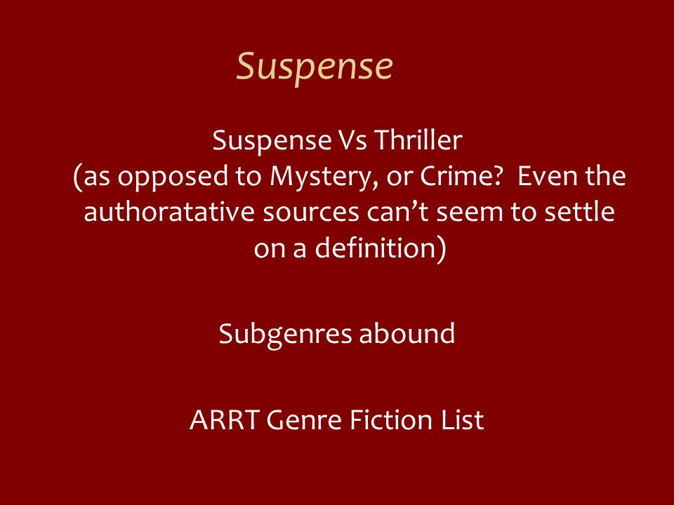 ARRT Genre Fiction List