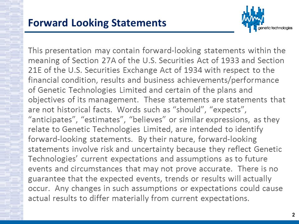 Forward Looking Statements
