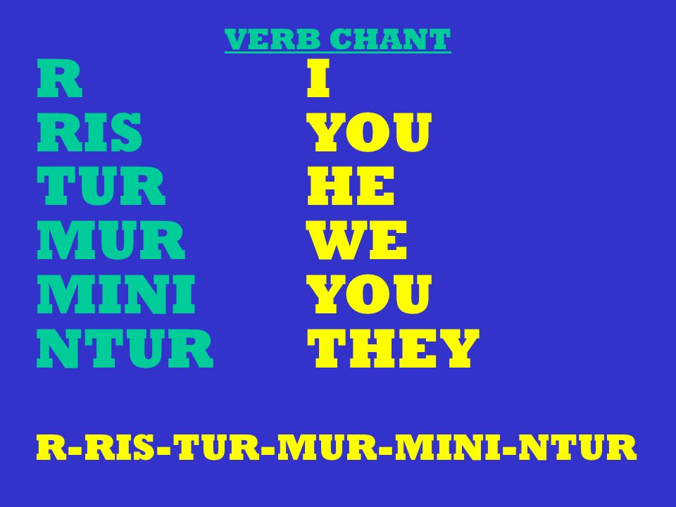 R I RIS YOU TUR HE MUR WE MINI YOU NTUR THEY R-RIS-TUR-MUR-MINI-NTUR