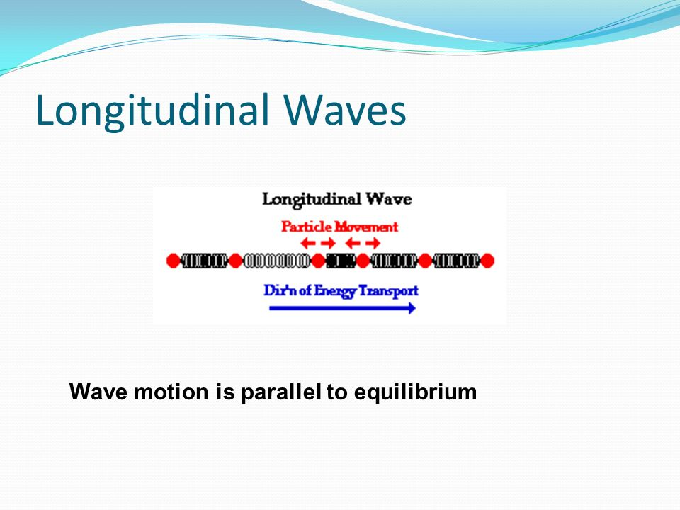 Longitudinal Waves Wave motion is parallel to equilibrium