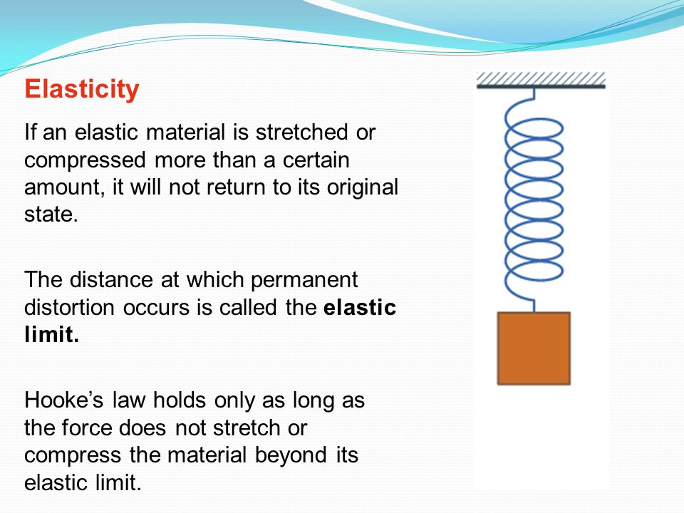 Elasticity If an elastic material is stretched or compressed more than a certain amount, it will not return to its original state.