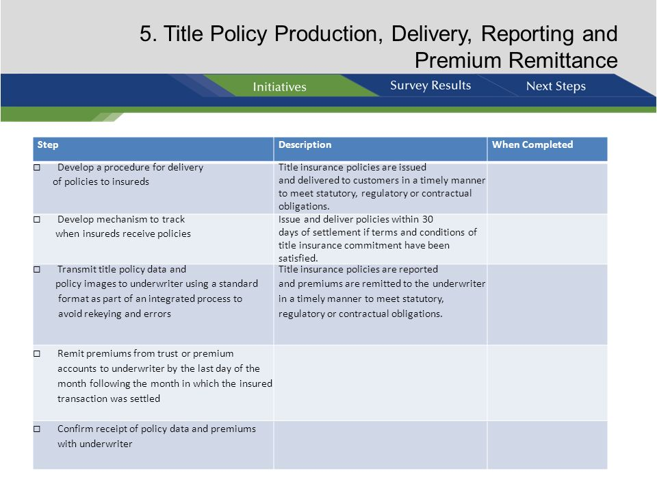 5. Title Policy Production, Delivery, Reporting and Premium Remittance