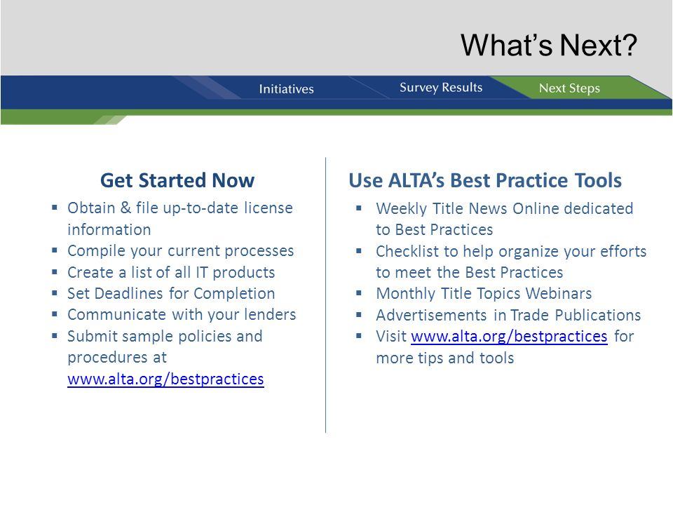 Use ALTA's Best Practice Tools