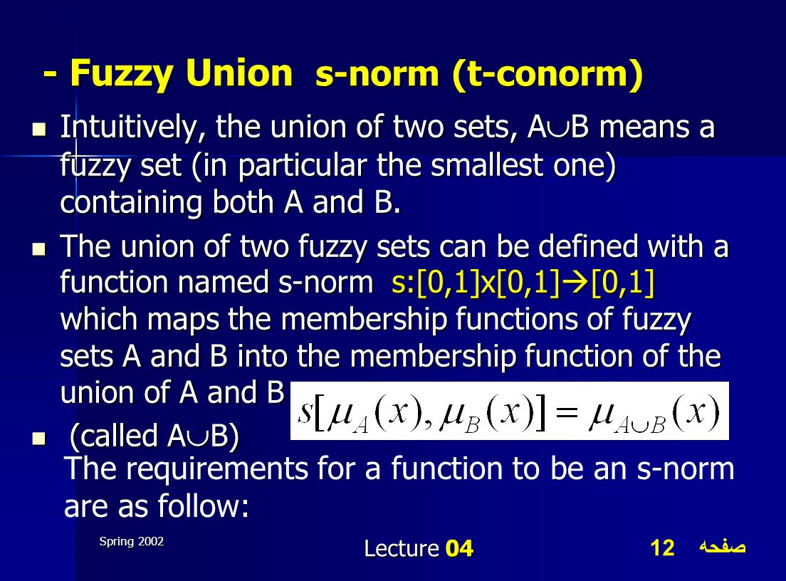 - Fuzzy Union s-norm (t-conorm)