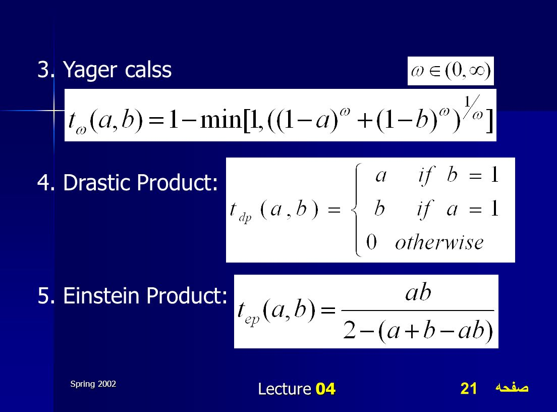 3. Yager calss 4. Drastic Product: 5. Einstein Product: Lecture 04