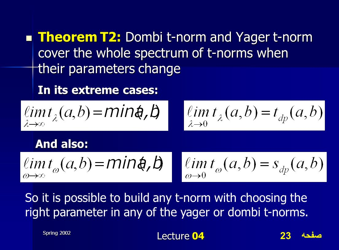 Theorem T2: Dombi t-norm and Yager t-norm cover the whole spectrum of t-norms when their parameters change