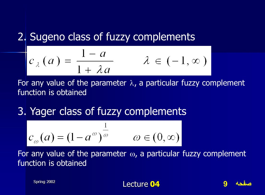 2. Sugeno class of fuzzy complements