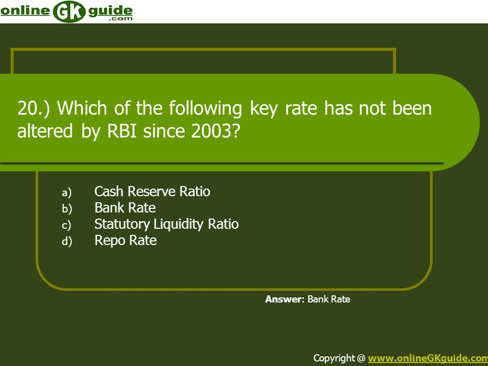 Cash Reserve Ratio Bank Rate Statutory Liquidity Ratio Repo Rate