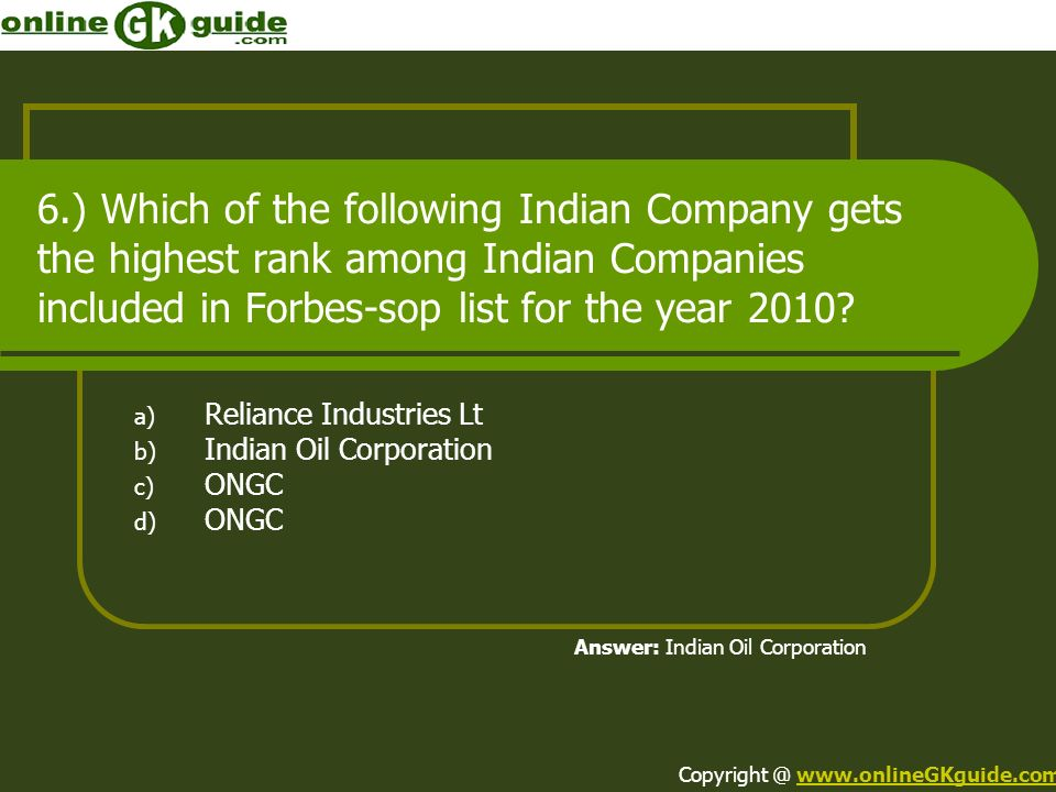 Reliance Industries Lt Indian Oil Corporation ONGC