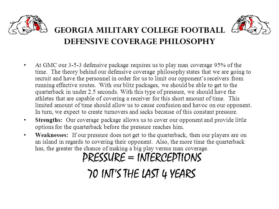 GEORGIA MILITARY COLLEGE FOOTBALL DEFENSIVE COVERAGE PHILOSOPHY