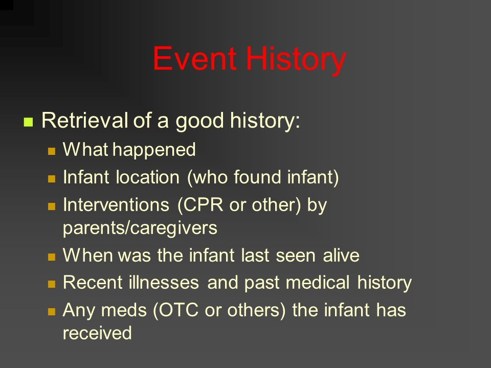 Event History Retrieval of a good history: What happened