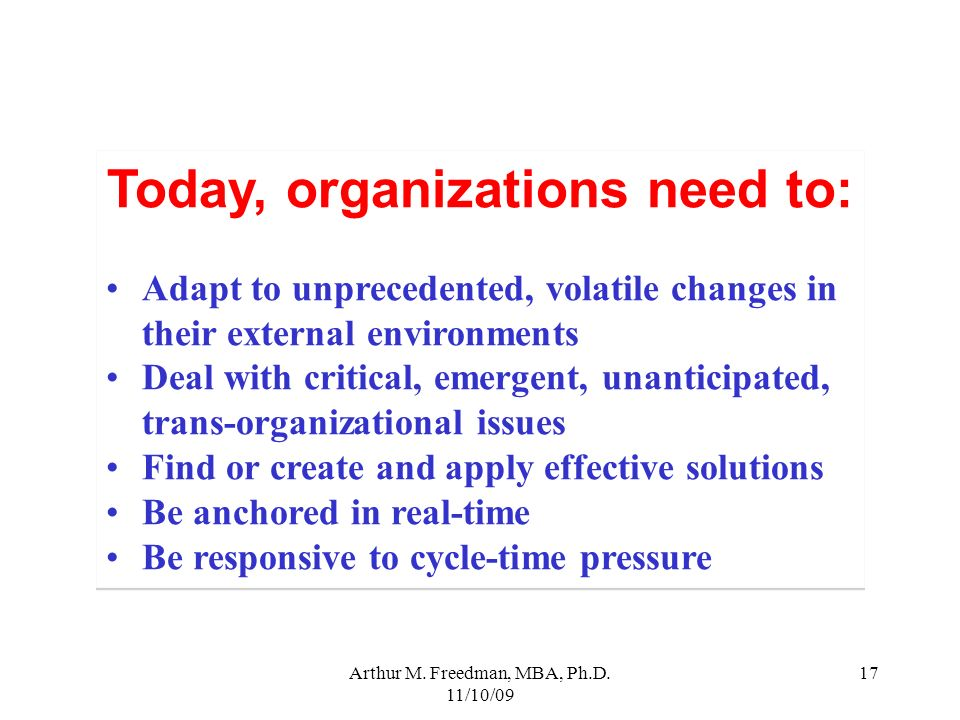 Today, organizations need to: