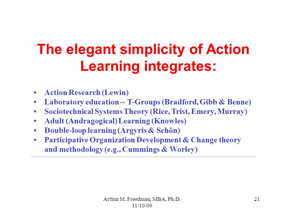 The elegant simplicity of Action Learning integrates:
