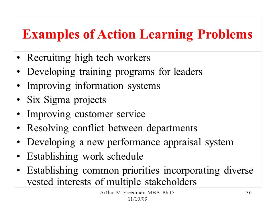 Examples of Action Learning Problems