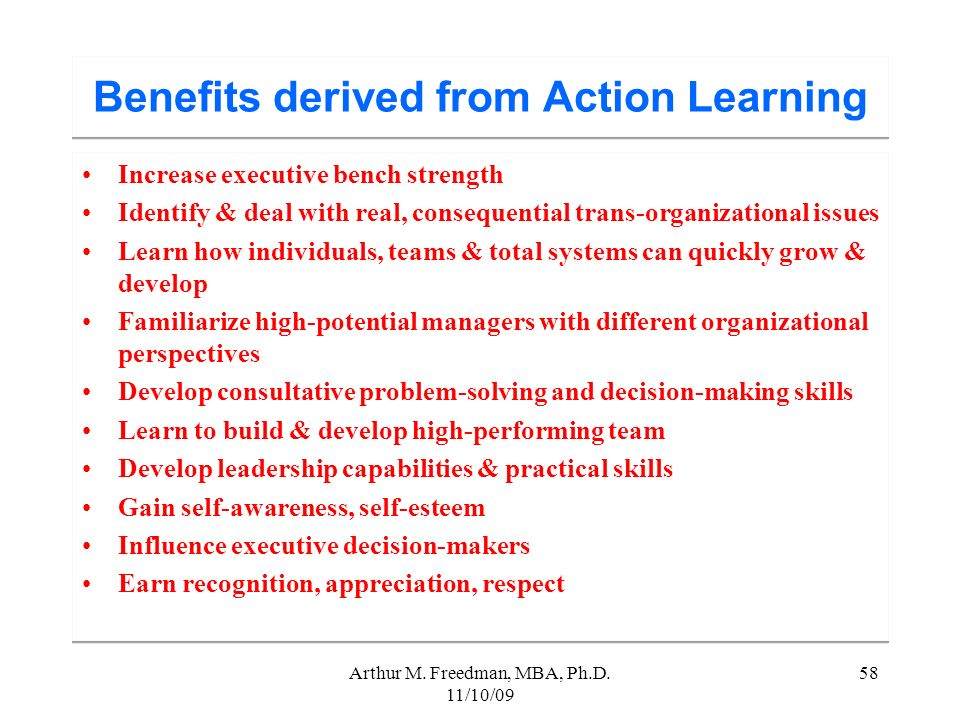 Benefits derived from Action Learning