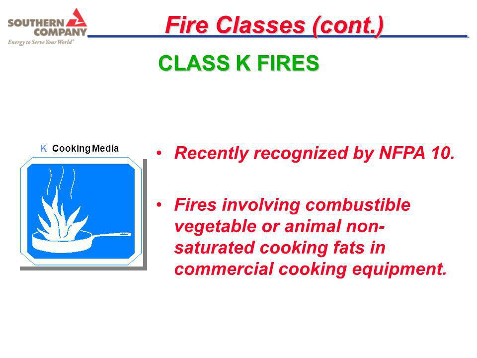 Fire Classes (cont.) CLASS K FIRES Recently recognized by NFPA 10.