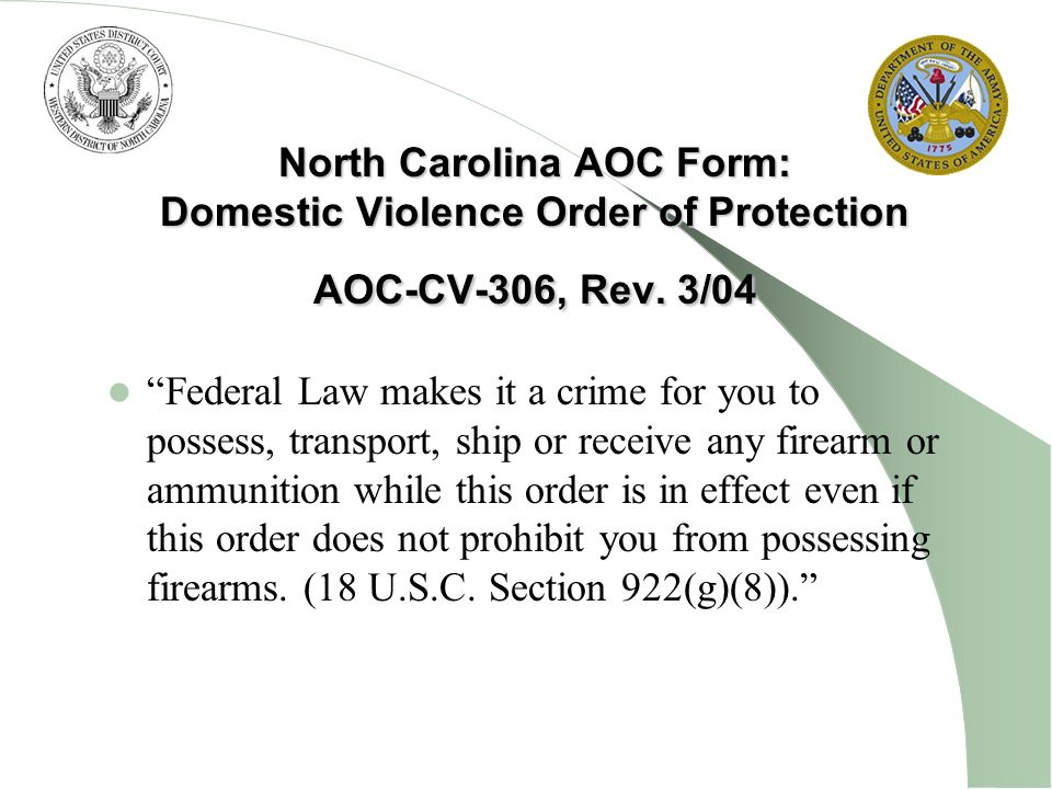 North Carolina AOC Form: Domestic Violence Order of Protection AOC-CV-306, Rev. 3/04