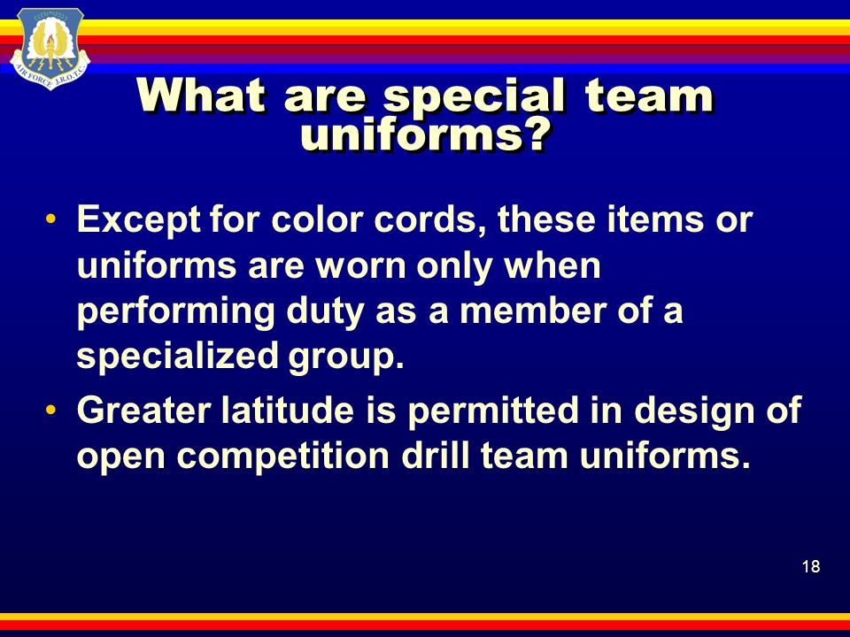 What are special team uniforms