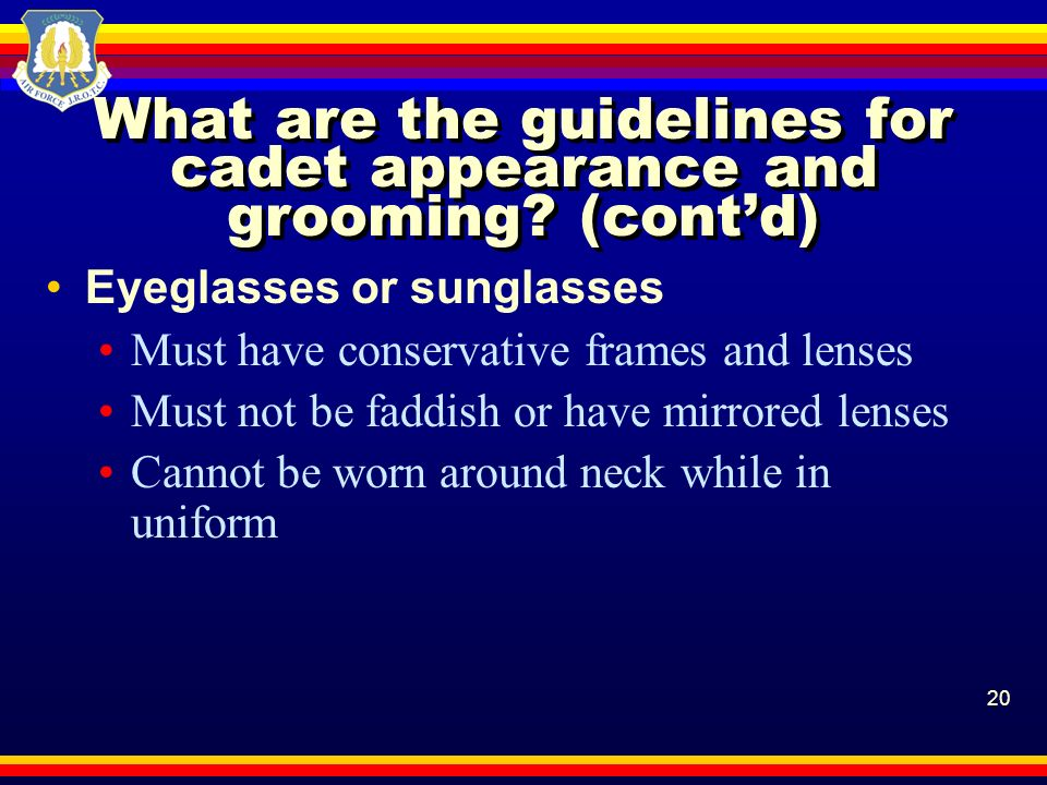 What are the guidelines for cadet appearance and grooming (cont'd)