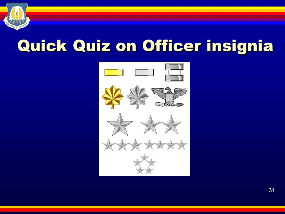 Quick Quiz on Officer insignia