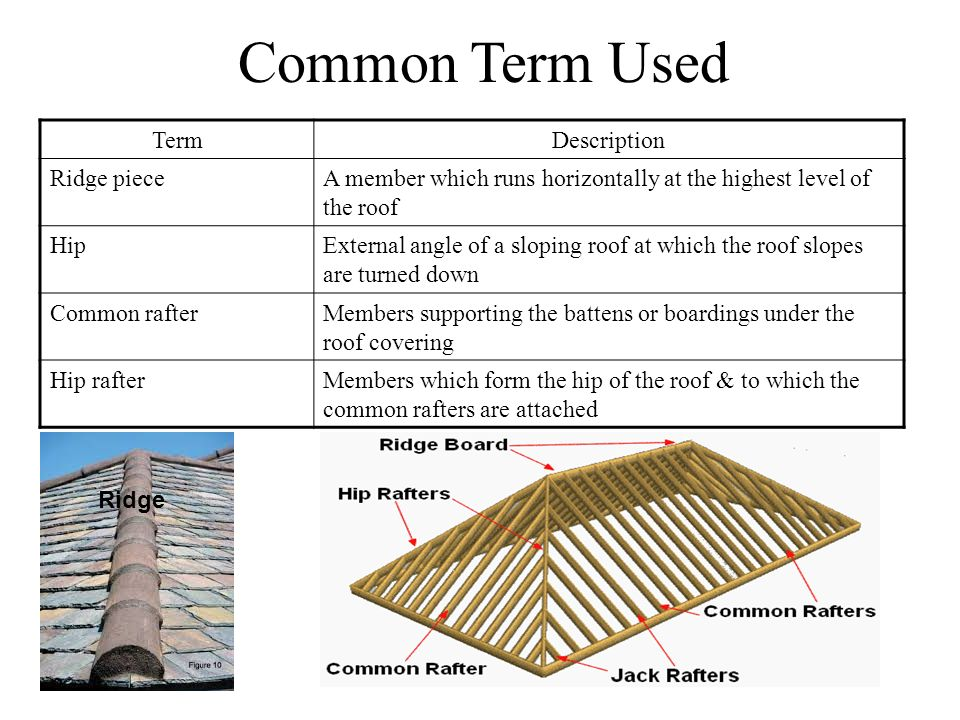 Common Term Used Term Description Ridge piece
