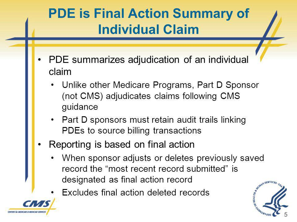 PDE is Final Action Summary of Individual Claim