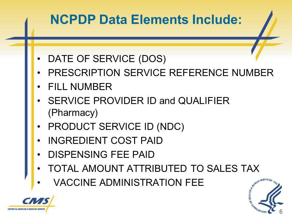 NCPDP Data Elements Include: