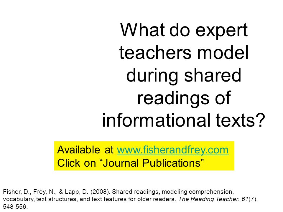 What do expert teachers model during shared readings of informational texts