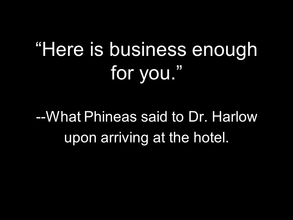 Here is business enough for you. --What Phineas said to Dr