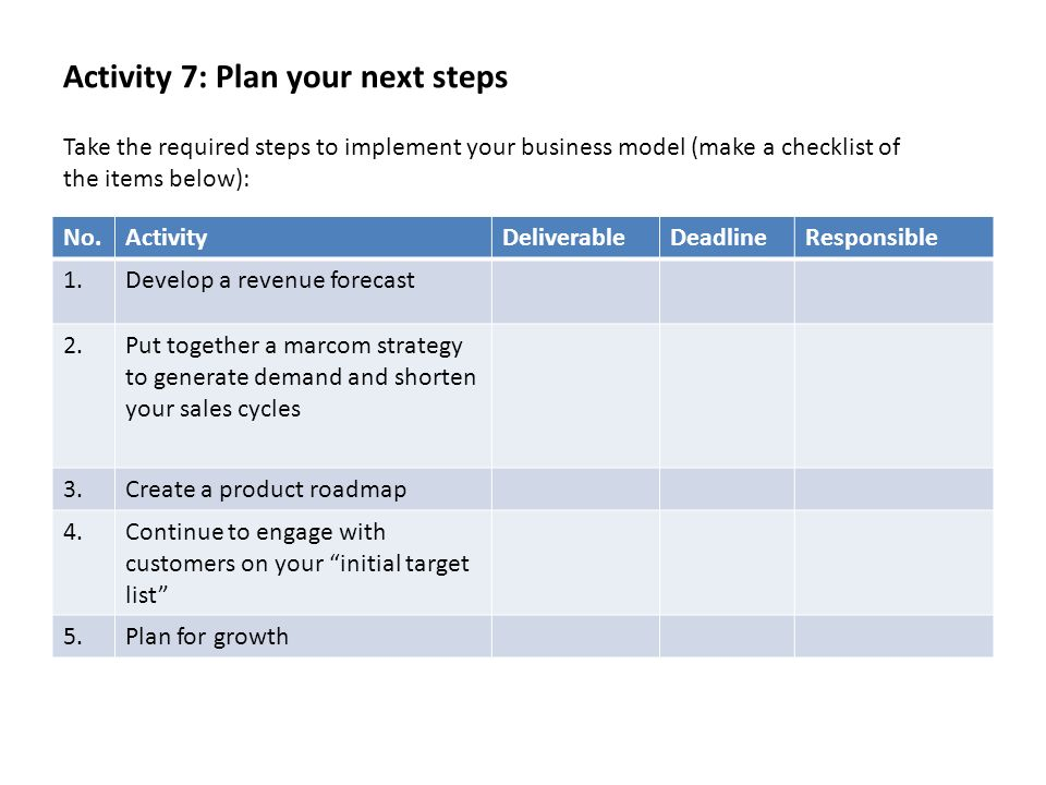 Activity 7: Plan your next steps