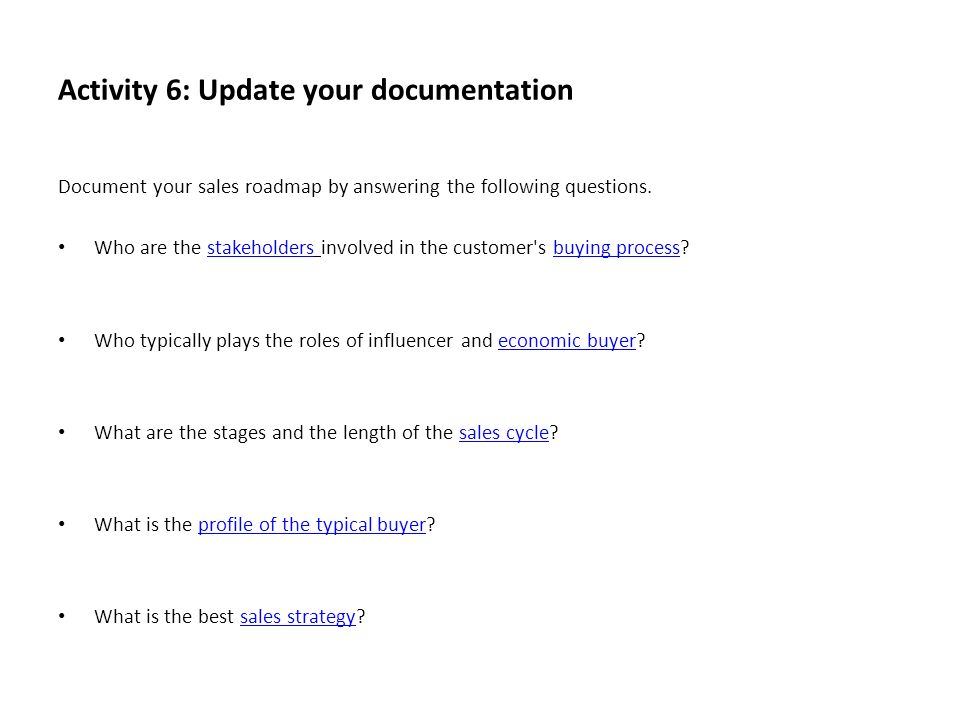 Activity 6: Update your documentation