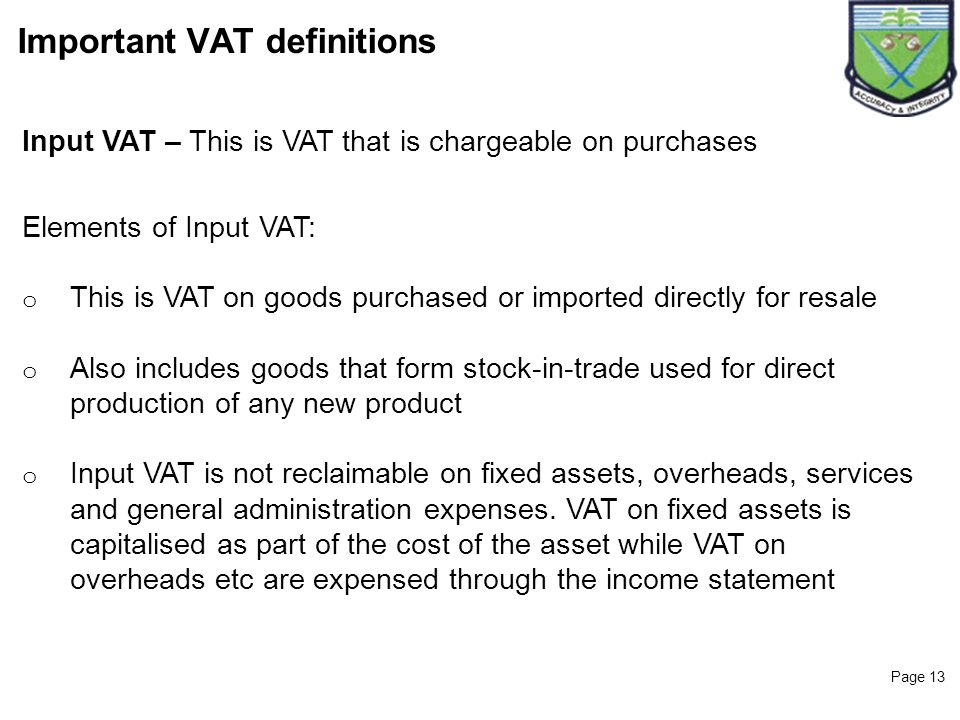 Important VAT definitions