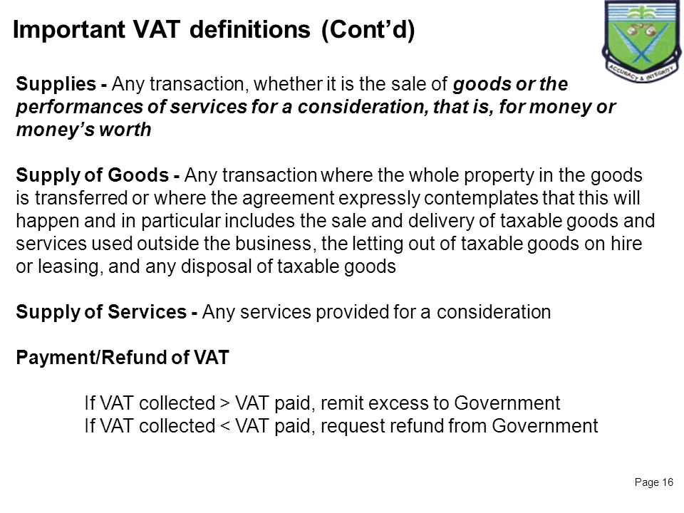 Important VAT definitions (Cont'd)
