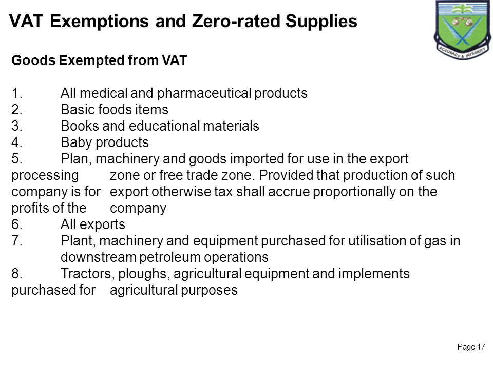 VAT Exemptions and Zero-rated Supplies