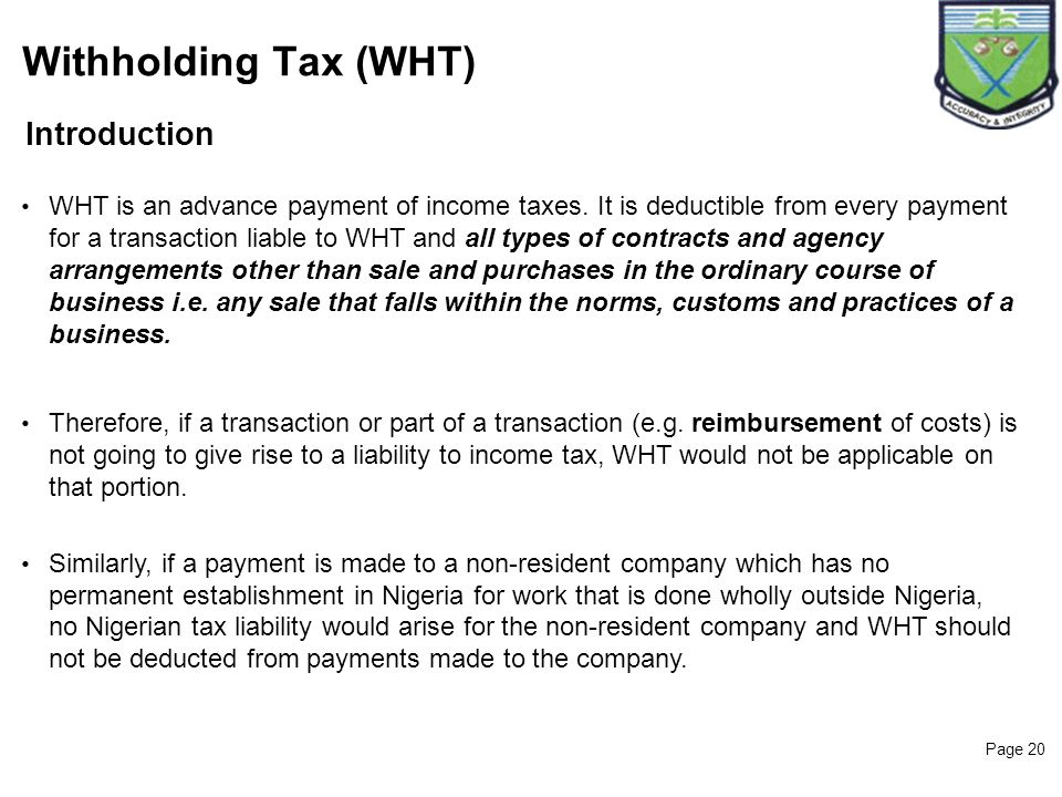 Withholding Tax (WHT) Introduction