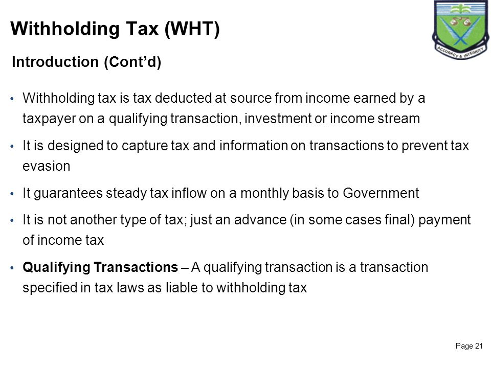 Withholding Tax (WHT) Introduction (Cont'd)