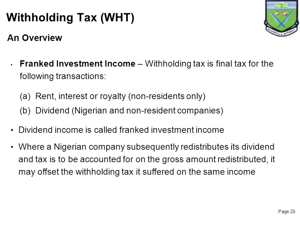 Withholding Tax (WHT) 25 An Overview